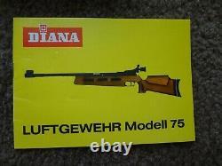 DIANA Model 75 HVTO1 Match Air Rifle 177 Cal