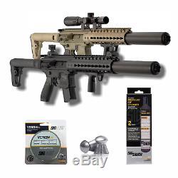 SIG Sauer MCX. 177 Cal Air Rifle with 2-Pack CO2 90 Grams, 500 Lead Pellets Bundle
