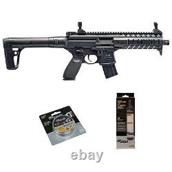 SIG Sauer MPX. 177 Cal Air Rifle with CO2 90 Gram (2 Pack) 500 Lead Pellets Black