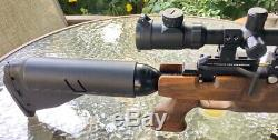 Kralarms Puncher Pitbull Pcp Carabine À Air Comprimé. 22 Cal Noyer Stock With3-9x32 Ir Ao Scope