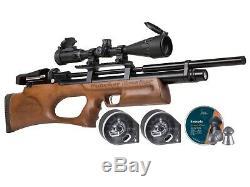 Perforateur Disjoncteur Silencieux Pcp Carabine À Air Comprimé Kit. 25 Calibre Avec Scope Pellets Noyer